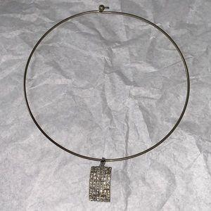 Silver Tone Wire Cable Choker Rhinestone Pendant